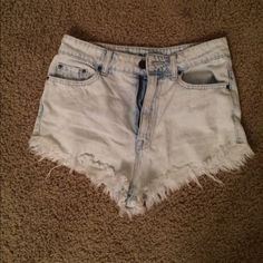 High waisted light wash denim BDG shorts Size 26, light wash high waisted denim BDG shorts from Urban Outfitters, perfect condition! Urban Outfitters Shorts Jean Shorts