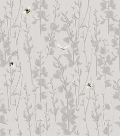 Broom and Bee Dusk by Lorna Syson - Dusk - Wallpaper : Wallpaper Direct Girl Wallpaper, Fabric Wallpaper, Pretty Wallpapers, True Colors, Dusk, Home Projects, House Design, Drawings, Bees