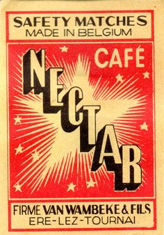 BELGIAN MATCHBOX LABEL - Café Nectar (Van Wambeke & Fils - Tournai)