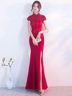 Long Split Front Qipao / Cheongsam Gown with Lace Top Cheongsam Wedding, Cheongsam Dress, Cheongsam Modern, Evening Dresses, Prom Dresses, Formal Dresses, Asian Style Dress, Classy Gowns, Traditional Dresses