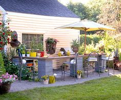 Easy and Inexpensive Ideas for Outdoor Rooms Affordable Outdoor Kitchen An outdoor kitchen can easily cost several thousand dollars. By reusing old materials and buying accessories at discount stores, this homeowner created a hardworking outdoor kitchen f Outdoor Rooms, Outdoor Gardens, Outdoor Living, Outdoor Decor, Outdoor Bars, Outdoor Buffet, Outdoor Patios, Outdoor Kitchens, Outdoor Fun