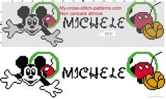 Noah name whit Mickey Mouse cross stitch patterns free - - 1724288 Cross Stitch Letters, Cute Cross Stitch, Cross Stitch Designs, Cross Stitch Pattern Maker, Stitch Patterns, Bead Patterns, Noah Name, Alfabeto Disney, Mickey Mouse