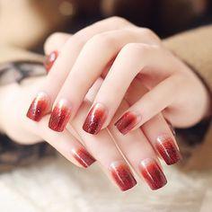 Glitter Powder Gradient Wine Red Nail Art ==