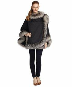 Crystal Fox Fur Trimmed Ruana - Brooks Brothers