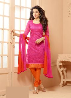 Pink Wholesale Chanderi Salwar Kameez Specially For Festival