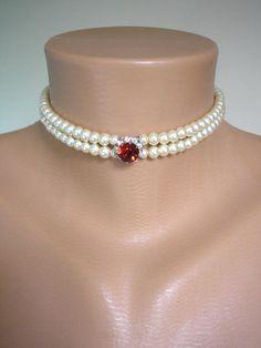 Perlas gargantilla gargantilla de rubíes collar nupcial
