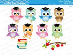 School Owls clipart , Graduation Owls , Back to School Owls clip art set Owl Theme Classroom, Owl Clip Art, School Clipart, Owl Pictures, Beautiful Owl, Templates Printable Free, Animals For Kids, Digital Image, Back To School
