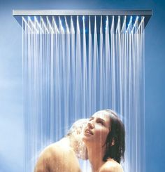 Some Rain shower heads come with built in LED lights that are lit by water, not by electricity, so there is no confusion with the wires! Double Shower Heads, Led Shower Head, Best Rain Shower Head, Dream Shower, Walk In Shower, Shower Rose, Master Shower, Master Bathroom, Waterfall Shower