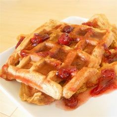 Sweet Potato Waffles with Cranberry Maple Syrup - Allrecipes.com