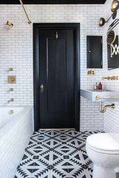 tile floor in bathroom and floor to ceiling subway tile walls. design inspiration