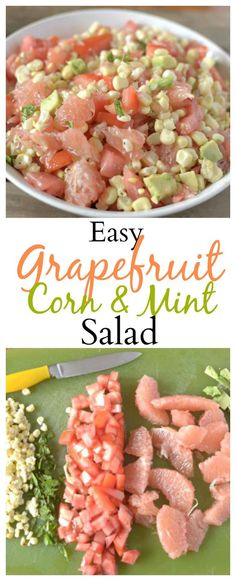 Make this easy and healthy Grapefruit Corn and Mint Salad for a tasty side dish for lunch or dinner. It contains only a few ingredients and is put together within minutes! Also Paleo, vegan, and Whole30 Friendly! You'll love the unique flavors of this tasty dish! #healthy #vegan #paleo