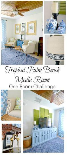 The Media Room Reveal: One Room Challenge - Slightly Coastal