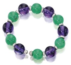 Michele della Valle - Amethyst, dyed green chalcedony and diamond bangle-bracelet - composed of amethyst and dyed green chalcedony beads, accented by diamond rondelles set with small round diamonds, mounted in 18 karat white gold and titanium, expandable length, signed MdV for Michele della Valle.