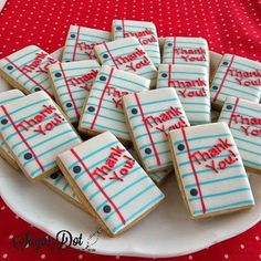"""Teacher Thank You Sugar Cookies with Royal Icing These cookies were made for Teacher Appreciation Week. They look like small sheets of loose leaf paper with a """"Thank You"""" message. Cookies are availab"""