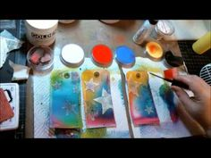 Creative play video by Linn's Art and Soul.  What doesn't she use on these tags?  Dylusion ink sprays, embossing paste, stamps, PanPastels, various mediums, chitchat stickers, gel tar to make stringy drips, etc.