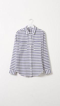 Elizabeth and James Emmanuel Cotton Button Down Shirt in Blue Stripe  | The Dreslyn