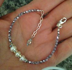 Sparkly Pearl Bracelet--Purple & Silver