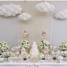 baby shower ideas for girls and boys. Baby shower decorations and baby shower decor Cloud Baby Shower Theme, Décoration Baby Shower, Angel Baby Shower, Unique Baby Shower Themes, Elegant Baby Shower, Teddy Bear Baby Shower, Baby Girl Shower Themes, Girl Baby Shower Decorations, Beautiful Baby Shower