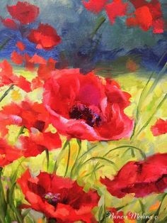 Detail from: Shall We Dance Poppies, 24X36, oil www.nancymedina.com