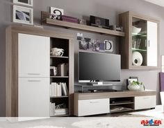 Wall unit BELA: with modern design and indirect lighting, the wall unit B . - Diy And Home Cottage Living Rooms, Living Room Tv, Home And Living, Tv Furniture, Furniture Styles, Tv Wall Cabinets, Modern Tv Wall, Muebles Living, Tv Wall Decor