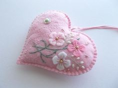 Heart Ornament Pink Felt Heart Hanging with Hand Embroidered Felt Flowers Swirls and Dots Handsewn - Mila Felt Decorations, Valentine Decorations, Valentine Crafts For Kids, Easter Crafts, Valentines, Sewing Crafts, Sewing Projects, Pink Crafts, Heart Ornament