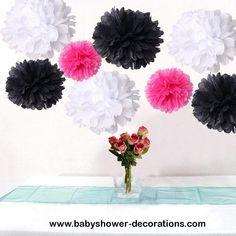 Bulk 18pcs Mixed Hot Pink Black White DIY Tissue Paper Flower Pom Poms Wedding Birtday Bridal Shower Hanging Party Decoration - http://www.babyshower-decorations.com/bulk-18pcs-mixed-hot-pink-black-white-diy-tissue-paper-flower-pom-poms-wedding-birtday-bridal-shower-hanging-party-decoration.html