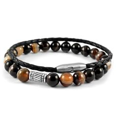 * Neshraw 2 bracelet set * Agate stone on elastic band * Stainless steel and genuine leather * Comes in a gift bag Lion Bracelet, Tiger Eye Bracelet, Bracelet Cuir, Pearl Bracelet, Bracelet Set, Bracelet Making, Agate Stone, Stone Beads, Bracelets