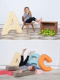 Giant Foam Letters DIY for a playroom ---- do with numbers for kids photos too - seniors Foam Letters, Diy Letters, Giant Letters, Alphabet Letters, Diy For Kids, Crafts For Kids, Diy Crafts, Diy Bebe, Ideas Geniales