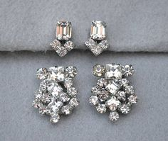 Juliana Rhinestone Duette Brooch and Married Earrings Silver https://www.etsy.com/listing/529448007/juliana-rhinestone-duette-brooch-and?ref=shop_home_active_6#Vintage #Jewelry #Fashion #GiftForHer #JulianaDressClipDuetteBrooch #JulianaDuetteBroochMarriedEarrings #RhinestoneBroochEarringSet