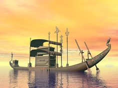 Egyptian Sacred Barge With Tomb - Render by Elenarts - Elena Duvernay Digital Art Boat Art, Titanic, Egyptian, Fine Art America, Digital Art, Sunset, Canvas, Water, Boats