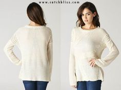 Catch Bliss Boutique Cream Cable Knit Accent Sweater www.catchbliss.com