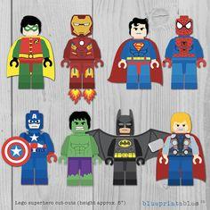 LEGO Superhero 5 cutouts Batman Robin Iron Man por blueprintables