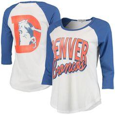 Women's Denver Broncos White/Royal Play Action Vintage 3/4-Sleeve Raglan T-Shirt