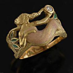 masriera art nouveau jewelry   An Art Nouveau style enamel and diamond ring by Masriera… - Rings ...