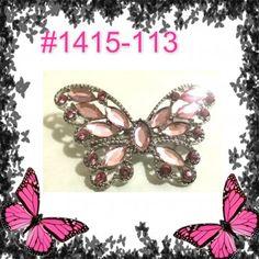 Pink Sparkle Rhinestone Crystal Alloy Charm  Butterfly Pin & Brooch #1415-113 #pinkbutterfly #butterflybrooch #butterfly