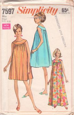 Simplicity 7597 1960s Misses Nightgown Muu Muu Pattern vintage sewing pattern by mbchills