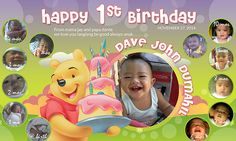 First birthday tarpaulin design with pooh Birthday Surprises For Her, Birthday Quotes For Her, Mum Birthday Gift, Best Birthday Wishes, Funny Birthday Cards, Birthday Diy, Happy Birthday, Birthday Tarpaulin Design, Birthday Frames