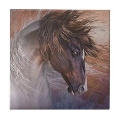 Horse Head, Horse Art, Tile Art, Custom Greeting Cards, Office Gifts, Paper Texture, White Ceramics, Horses, Drawings