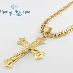 Nyuk 10pcslot gold plated jesus cross necklaces pendants mens nice 20 36 mens stainless steel gold large jesus cross pendant cuban necklace chain aloadofball Gallery