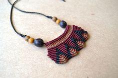 Fire Macrame Necklace/ Tribal Jewelry/ Macrame Jewelry/ Peruvian Jewelry/ Red and Black/ Fiber Art. $36.00, via Etsy.
