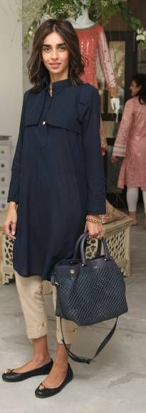Pakistani outfit. Ayesha Noon Khan..how to make navy work for Summer