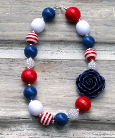 4th of July Chunky Bubblegum Necklace Memorial by HottieTottieGirl, $22.00