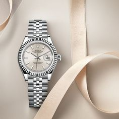 The classic feminine watch. The @Rolex Lady-Datejust in Oystersteel and white gold, 28 mm case, silver dial, a Jubilee bracelet. #Rolex #Lady-Datejust #KapoorWatch #KapoorWatchCompany Please re-pin 😍💞 gold rolex watch, gold rolex daytona, gold rolex watches men, gold rolex submariner, white gold rolex, gold rolex day date Used Rolex For Sale, Rolex Watches For Sale, Ladies Rolex Watches, Gold Watches, Wrist Watches, Luxury Watches, Rolex Datejust Price, Rolex Submariner, Rolex Watch Price
