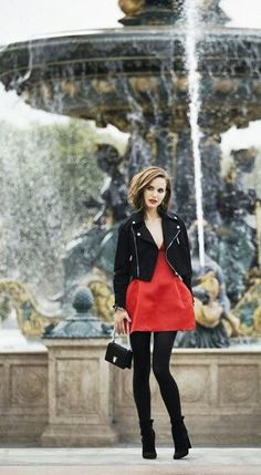 Natalie Portman's look for Dior is very modern and chic. Dare to wear a perfecto on top of an elegant dress.