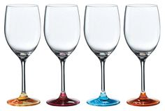 One Kings Lane - Cocktails on the Shore - S/4 Bright Wine Glasses, Multi