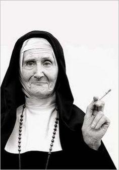 """""""Wrinkled nun smoking cigarette""""... Postcard by Norbert Schaefert. ☀"""