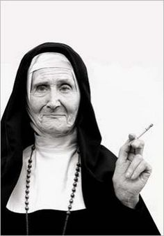 """Wrinkled nun smoking cigarette""... Postcard by Norbert Schaefert. ☀"