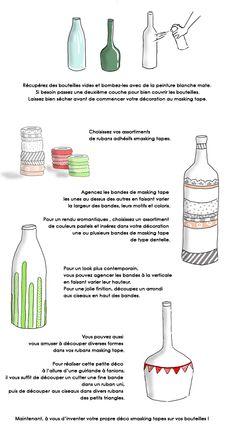 """En dessin : transformez des bouteilles en vases décorés de """"masking tape"""" // http://www.deco.fr/loisirs-creatifs/actualite-577870-transformer-bouteilles-vases-decores-masking-tape.html"""