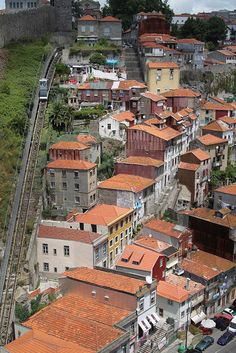 """Porto, Portugal.  Notice the """"lift"""", or """"funicular""""' on the left."""