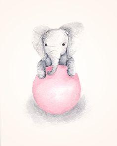 Nursery Art Elephant Nursery Decor Baby Girl от TheDaisyFields